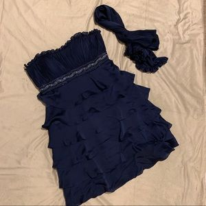 Montage Strapless Navy Blue Formal Dress size 14